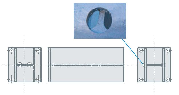 Percage de chaque côté de la pièce pour la circulation du zinc